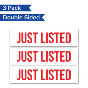 3pack JustListed RealEstateRider WhiteBG Coroplast 24x6 PRODUCT 01