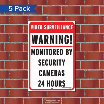 Deadline Signs 5 Pack 12 x 18 Red Coroplast Video Survalience Warning Sign B07RHYRHLJ